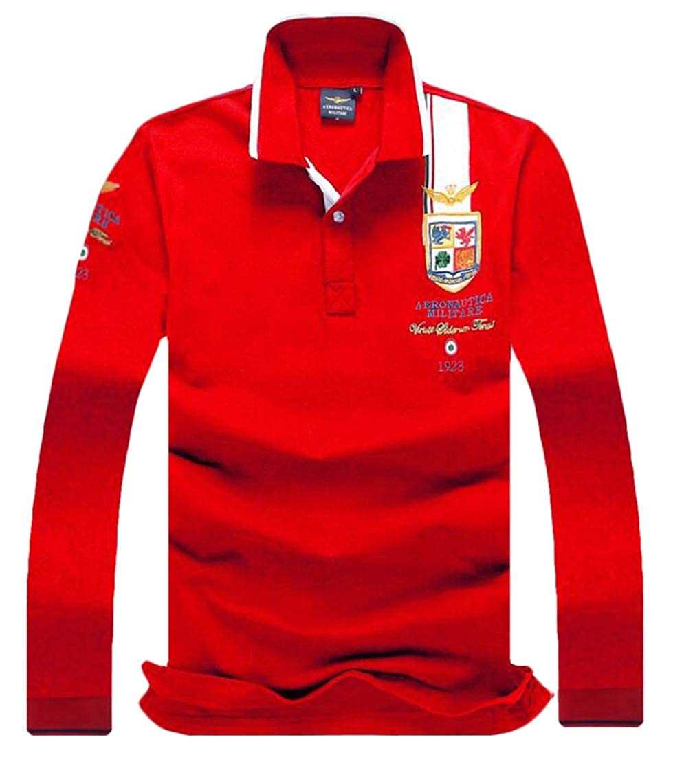 X-Future Mens Print Ma-1 Flight Buttons Long Sleeve Fashion Polo Shirts