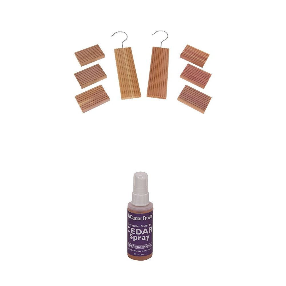 CedarFresh Red Cedar Wood 8-Piece Value Set and Lavender Spray   Protects Closets from Pests