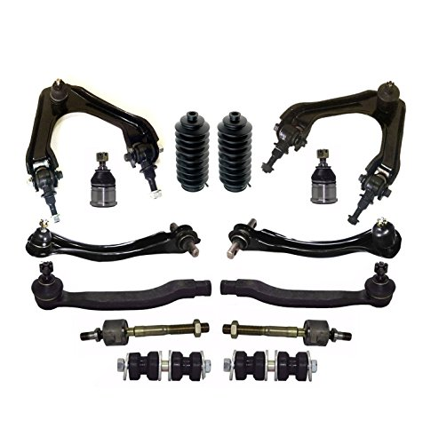 PartsW 14 Pc Front & Rear Suspension Kit for Honda Accord 1994-1997 Inner & Outer Tie Rod Ends Lower Ball Joints Rack & Pinion Bellow Boots Sway Bar End Links Upper Control Arms & Ball Joints Assembly (Boot Honda Joint Ball)