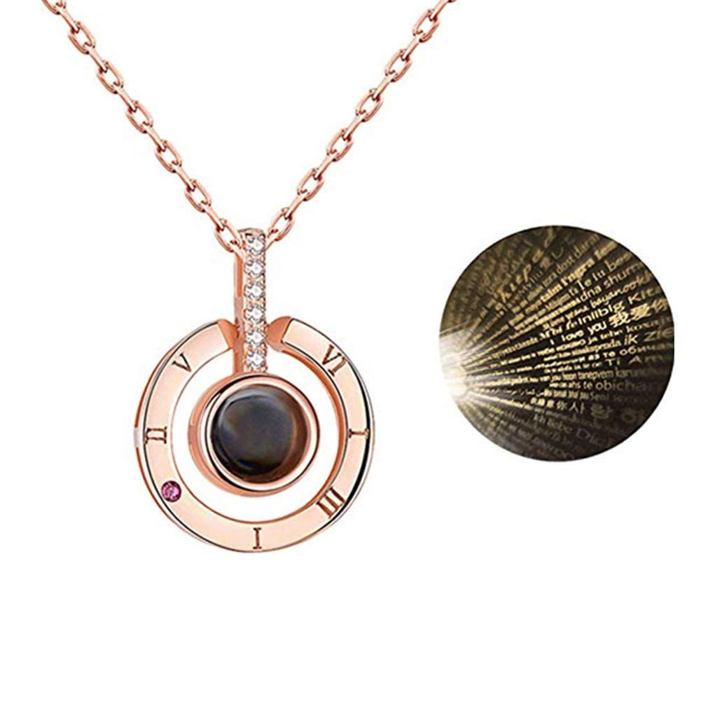 Romantic Gifts for Her Pendent Memory Necklaces Nano Jewelry Projection Necklace I Love You Necklace 100 Languages Gift Set Beauth Personalized Necklace Heart Necklace Rose Gold