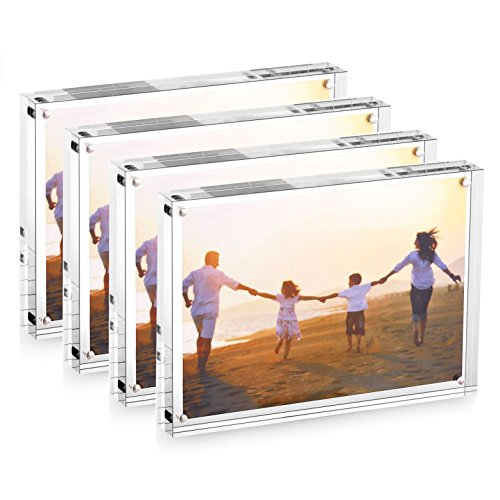 HESIN 4 Pack of 5 x 7 inch Clear Acrylic Photo Frame Thickness 12+12mm ,Stable Tabletop Magnet Frame Double Sided Picture frame with Gift Box Package Three days shipment ( - See Frames Through