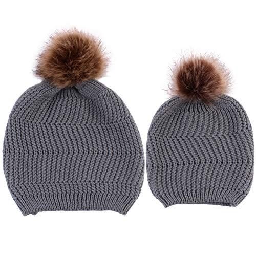 Gorro de punto para madre e hija para niños a juego con tapas de pompón de invierno de Allinmentpai, gris