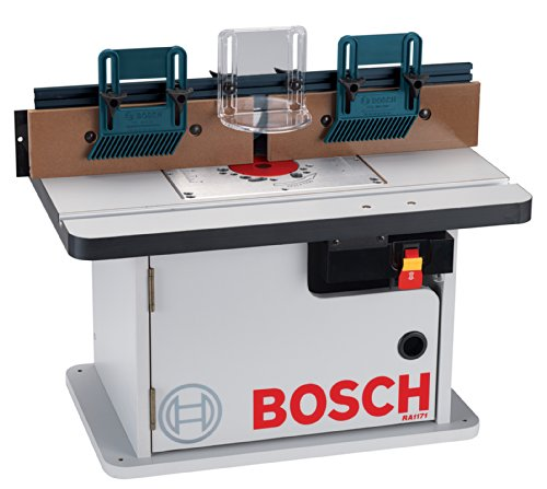 Bosch cabinet style router table on white background.
