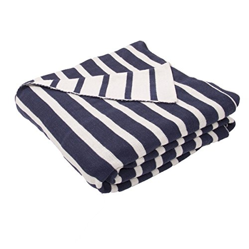 Diva At Home Navy Blue and Natural White Stripe Patterned Throw Blanket 50