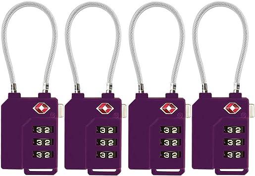 Pack of 4 Luggage Travel Lock 3 Digit Padlock Suitcase Code Security Bag