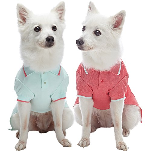 "Blueberry Pet Pack of 2 Back to Basic Cotton Blend Dog Polo Shirts in Mint Blue and Terra Cotta Red, Back Length 14"", Clothes for Dogs"