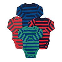Boys Long Sleeve 4-pack Striped Bodysuit (0-3 Months, Multi)