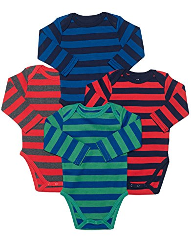 Leveret Long Sleeve 4-pack Striped Boys Bodysuit Cotton (6-12 Months, Multi)