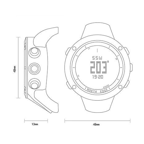 RENYAYA North Edge Deportes Hombres Reloj Digital Horas para Correr natación ejército Militar Relojes Resistente al Agua 50m cronómetro Temporizador: ...