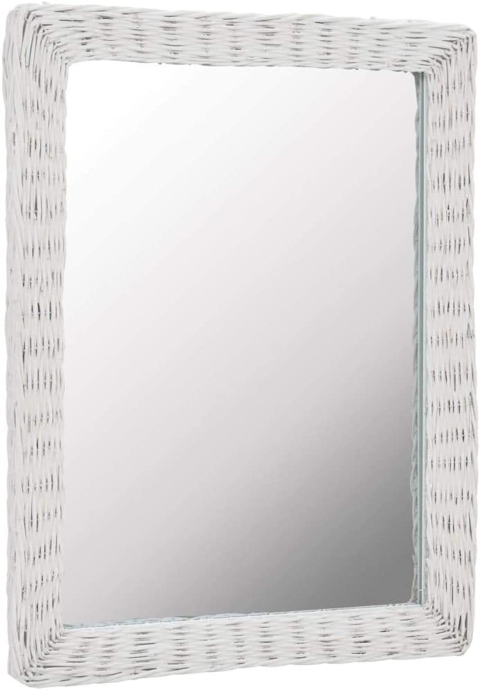 vidaXL Miroir Mural Osier et Rotin Blanc Salle de Bain Couloir Chambre