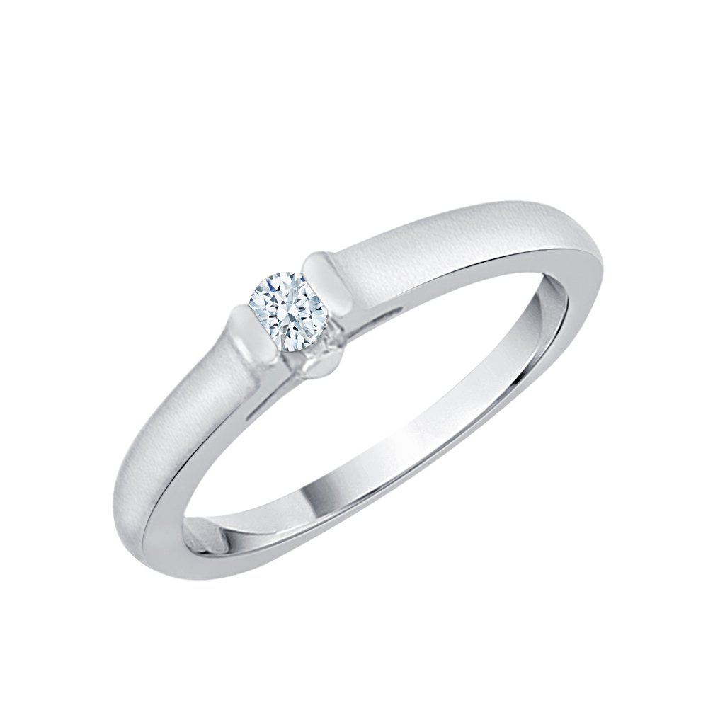 Diamond Solitaire Promise Ring in Sterling Silver (1/20 cttw) (I-Color, SI3/I1-Clarity) (Size-13)