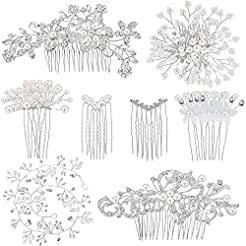 44 Pieces Wedding Hair Comb Faux Pearl C...