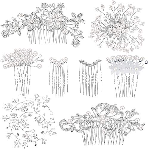44 Pieces Wedding Hair Comb Faux Pearl Crystal Bride Hair Accessories Hair Side Comb Clips U-shaped Flower Rhinestone Pearl Hair Clips for Bride Bridesmaid