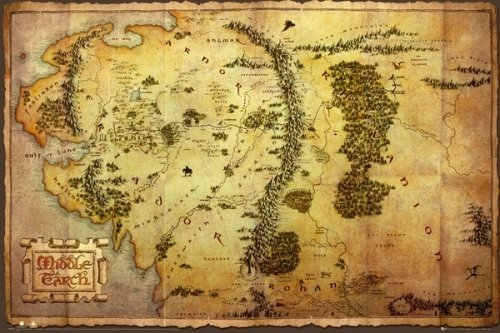 The Hobbit Giant Poster Map Of Middle Earth – LOTR
