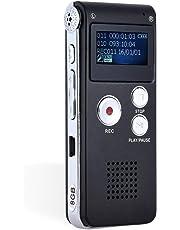 Grabadora de Voz Digital Estero, 8GB Portátil Grabación de 3D Sonido USB Recorder Recargable con Larga Duración Ligero Reproductor MP3 Micrófono Incorporado Dictáfono