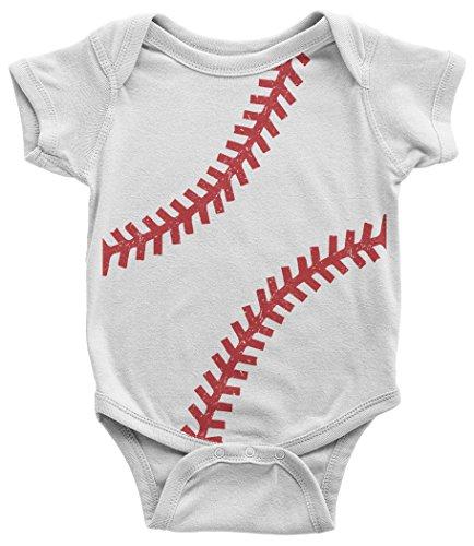 Softball Onesie (Threadrock Baby Baseball Or Softball Seams Infant Bodysuit 6 Months White)