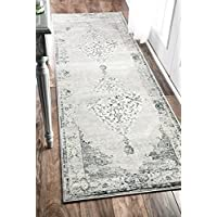 nuLOOM Traditional Vintage Abstract Runner Area Rugs, 2 6 x 8, Light Grey