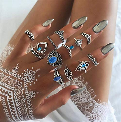 13 Piece Set Rings Jewelry Retro Diamond Carved Crown Star Gemstone Finger Rings