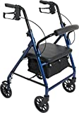 ProBasics Rollator, 6'' Wheels,Four Wheel Rollator with Removable Back Support, Best Fo heights 5'2'' thru 6'0'' (Blue)