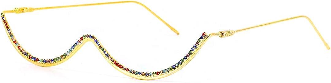 Naimo Half Frame Sparkling Crystal Sunglasses UV Protection Rhinestone Sunglasses Without Lens