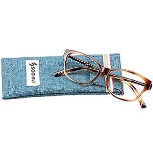 SOOLALA Womens Lightweight TR90 Cateye Stylish Prescription Frame Reading Glasses, Leopard, +2.0D