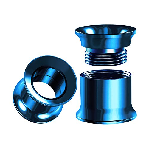 nternally Threaded Stainless Steel 00g Gauge 10mm Blue Double Flared Piercing Jewelry Ear Plugs Lobe Tunnel BG0019 ()