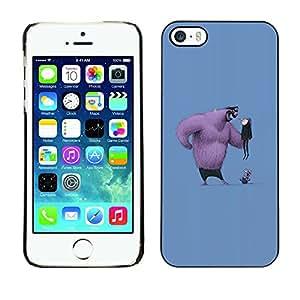 GOODTHINGS Funda Imagen Diseño Carcasa Tapa Trasera Negro Cover Skin Case para Apple Iphone 5 / 5S - figura historieta cómica hombre grande peludo divertido