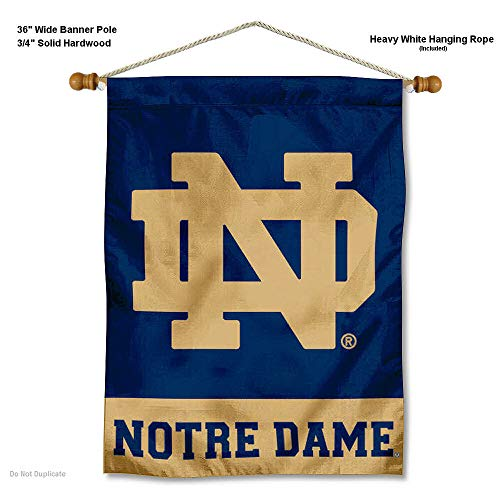 College Flags and Banners Co. Notre Dame Fighting Irish ND Logo Banner with Hanging Pole