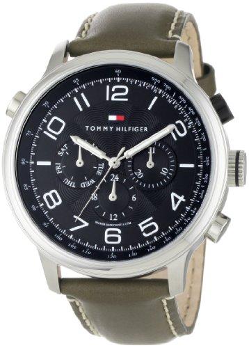 (Tommy Hilfiger Men's 1790792 Sport Multi Eye Black Dial Olive Strap Watch)