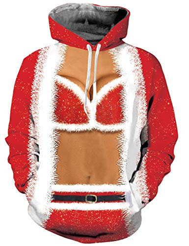 RAISEVERN Ugly 3D Print Pullover Langarm Hoodies für Damen Damen Sweatshirts Kapuzenjacke mit Tasche, Red Fake Cloak Bikini Pattern