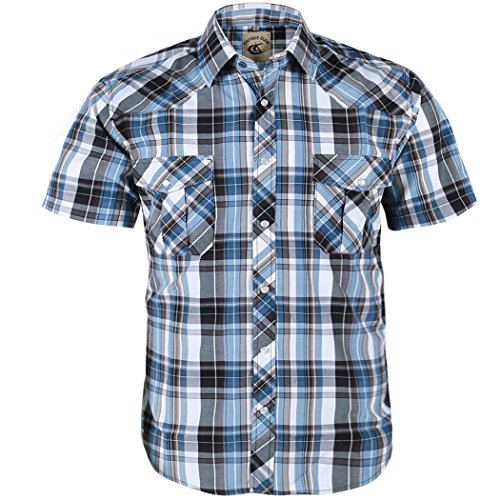 (Coevals Club Men's Snap Button Down Plaid Short Sleeve Work Casual Shirt (Light Blue & Gray #10,)