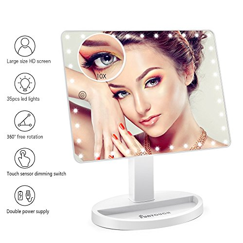 Large Lighted Vanity Makeup Mirror (X-Large Model), Funtouch Light Up Mirror with 35 LED Lights, Touch Screen and 10X Magnification Mirror, 360° Rotation Tabletop Cosmetic Mirror (White) -