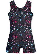 uideazone Gymnastics Leotard for Girls Biketards Sparkly Ballet Unitard with Shorts Quick Dry One-Piece Outfits 3-7 Years