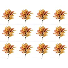 Factory Direct Craft Fall Artificial Silk Oak Leaf Picks with Autumn Berry Cluster Accent - 12 Picks