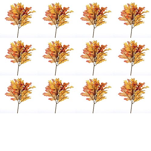 Factory Direct Craft Fall Artificial Silk Oak Leaf Picks with Autumn Berry Cluster Accent - 12 Picks ()