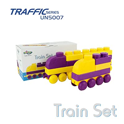 UNiPLAY Traffic Series - Soft Building Blocks - Games & Toys for Toddlers - 2-Color Train Set: Toys & Games