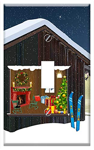 Switch Plate Single Toggle - Chalet Mountain Christmas Fir Lights Crown