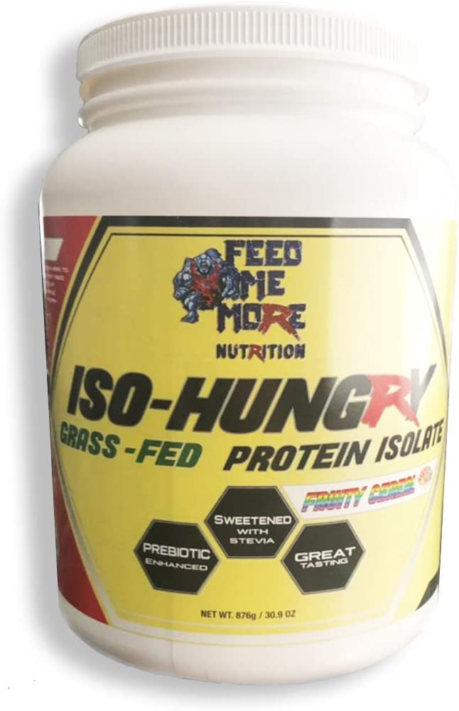 ISO-Hungry #1 Natural Grass Fed Stevia Whey Protein Powder Great Tasting (Fruity Cereal, 2lb) 30 Servings Low Carb/Keto Friendly