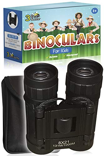 3 Bees & Me Binoculars for Kids - Fun Kids Gift for Boys & Girls - Shockproof Kids Binoculars & Travel Pouch - 8x21 Lens - Compact Durable & Easy to Focus - See 10 Football Fields Away -