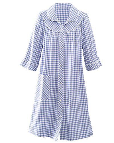 National Short Yarn-Dyed Flannel Check Duster, Lilac, 1X