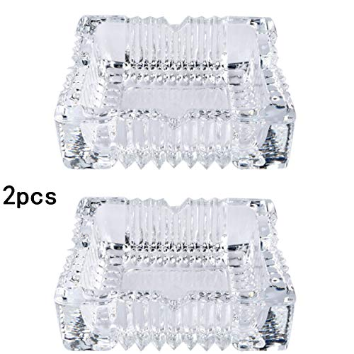 ZLY 2PCS 5 inch Ashtray,Square Tabletop Glass Ashtray Smoke Collectible Tribal Decoration