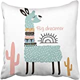 Staropor Throw Pillow Cover 18''X18'' Polyester Lama Cute Cartoon Llama with in Tribal Style Childish for Nursery Kids Apparel Baby Decorative Pillowcase Two Sides Deco for Home