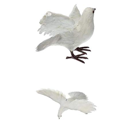 2x Resin Garden Ornament Realistic Dove Outdoor Indoor Home Decor White 2X