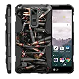 TurtleArmor | Compatible for LG Stylus 2 Case | LG G Stylo 2 Case [Hyper Shock] Rugged Hybrid Hard Shell Kickstand Fit Holster Clip Military War Robot Android Design - Black Bullets