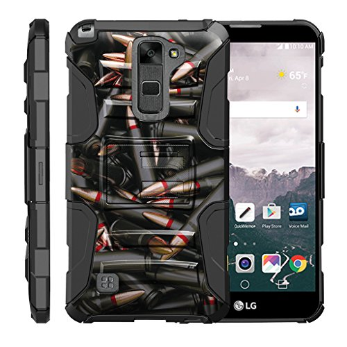 TurtleArmor | Compatible for LG Stylus 2 Case | LG G Stylo 2 Case [Hyper Shock] Rugged Hybrid Hard Shell Kickstand Fit Holster Clip Military War Robot Android Design - Black Bullets by TurtleArmor