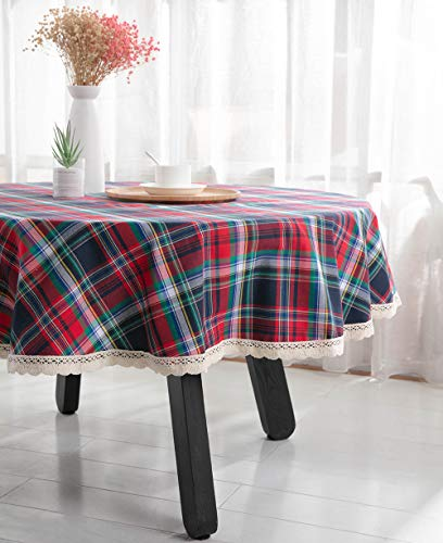 (Nobildonna 55Inch Gingham Checkered Won't Shrink Tablecloth,Buffalo Plaid Tablecloths, Round Polyester Tablecloth)