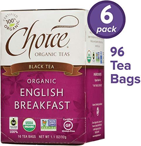 Choice Organic Teas Black Tea, 6 Boxes of 16 (96 Tea Bags), English Breakfast