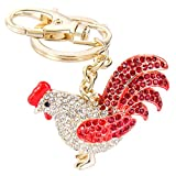 EVER FAITH Women's Austrian Crystal Rooster Keychain Red Gold-Tone
