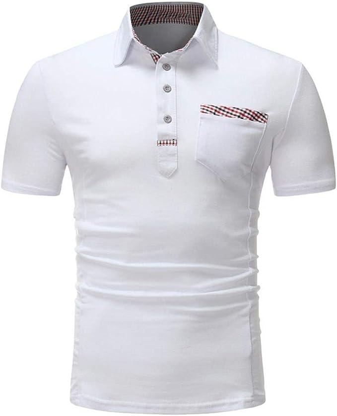 Hombre Mens Polo Shirt Short Sleeve Patchwork Summer T Shirt ...
