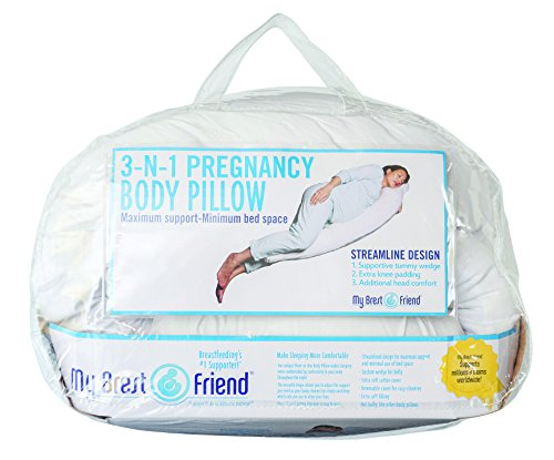 My Brest Friend 3 in 1 Pregnancy Body Pillow - Natural Head, Belly and Knee Sleep Support - Removable Soft Cotton Slipcover, White